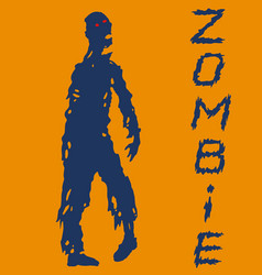 One-armed zombies silhouette in blue and orange vector