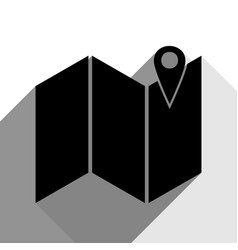 pin on the map black icon with two flat vector image