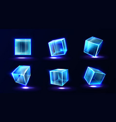 Plastic or glass cubes glowing with neon light set vector