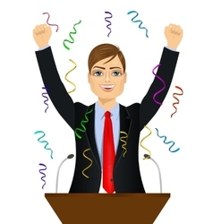 politician man celebrating with fists up at podium vector image