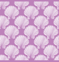 purple and white seashells repeat pattern vector image