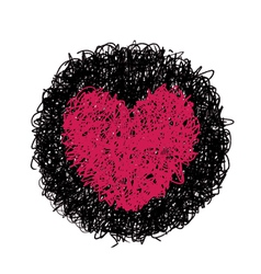 red heart in black circle vector image