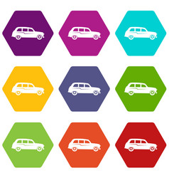 retro car icon set color hexahedron vector image