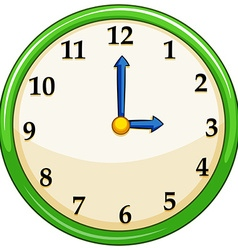Round clock with green frame vector image