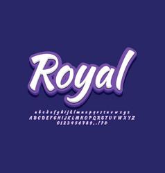 Royal purple 3d alphabet text effect or font vector
