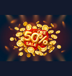 Sale 50 off ballon number on red background vector