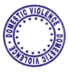 Scratched textured domestic violence round stamp vector