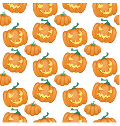 seamless pattern with pumpkin happy halloween vector image