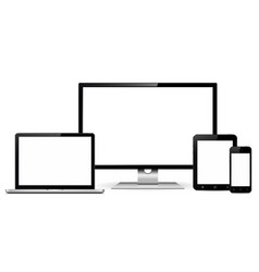 Set blank screens with computer monitor laptop vector
