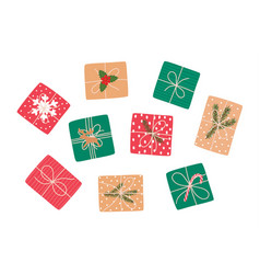 set christmas gifts top view vector image