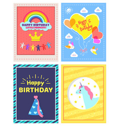 Set of happy birthday little princes pictures vector