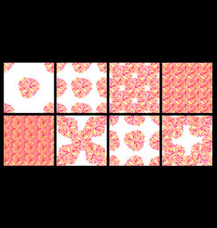 Set of seamless patterns with petals vector