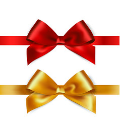 Shiny red and gold satin ribbon on white vector