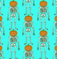 Sketch skeleton with curved pumpkin head vector