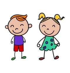 Stick figure happy kids vector
