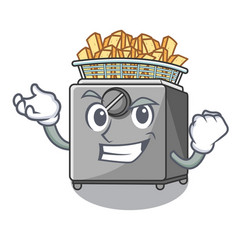 Successful character deep fryer on restaurant vector