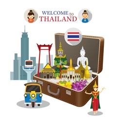 Suitcase with Thailand Landmark vector