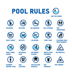 Swimming pool rules set of icons and symbol for vector