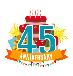 Template 45 years anniversary congratulations vector
