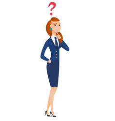thinking stewardess with question mark vector image