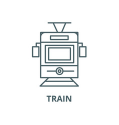 traintram front view line icon linear vector image