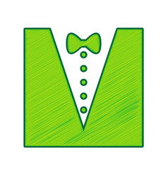 Tuxedo with bow silhouette lemon scribble vector