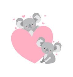two cute bakoala bears with big pink heart vector image