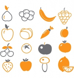 vegetables fruit signs vector image