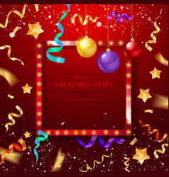 vintage christmas party design template vector image