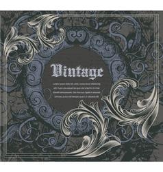 vintage frame with engraved floral vector image