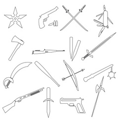 Weapons and guns simple outline icons eps10 vector