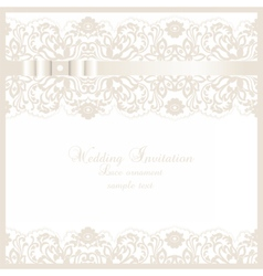 Wedding invitation card with lace floral ornament vector