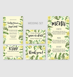 Wedding invitation flowers of yellow dahlia fern vector