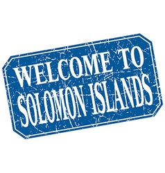 Welcome to Solomon Islands blue square grunge vector