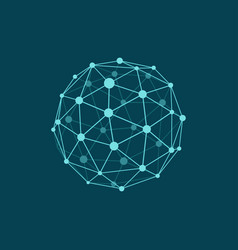 Wireframe sphere on dark plane blue background vector