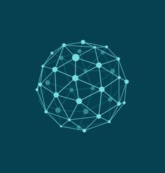 wireframe sphere on dark plane blue background vector image