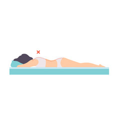 Woman lying on her stomach side view incorrect vector