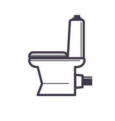 flush toilet icon sanitation porcelain fixture vector image vector image