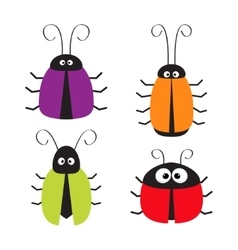 Cute bug set Funny cartton character Baby design vector image