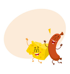 frankfurter sausage and cheese chunk characters vector image vector image
