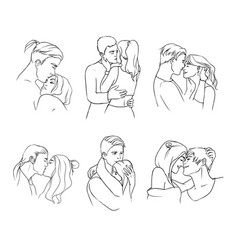 gentle young couple in love hand drawn set vector image vector image