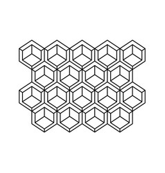 monochrome contour with abstract hexagon pattern vector image