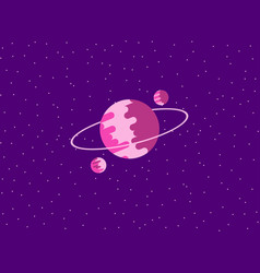 saturn flat style planet of the solar system vector image