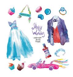 watercolor sweets wedding set vector image