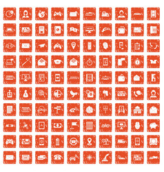 100 telephone icons set grunge orange vector