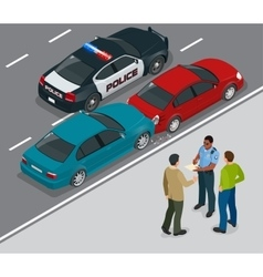 Auto accident involving two cars on a city street vector