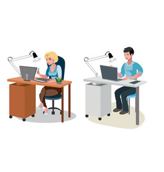 man and woman working on computer vector image