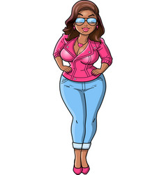 sexy black curvy bbw woman cartoon pink leather vector image