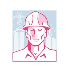 Construction Engineer Worker Hardhat vector image vector image