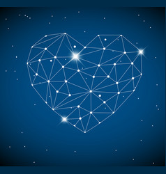 Heart made from triangles as constellation vector